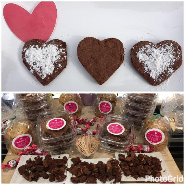 Organic Heartshaped brownies risingtidemarket  Come in today to samplehellip